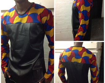 Custom made mens T shirt/ top/ shirt with ankara and leather