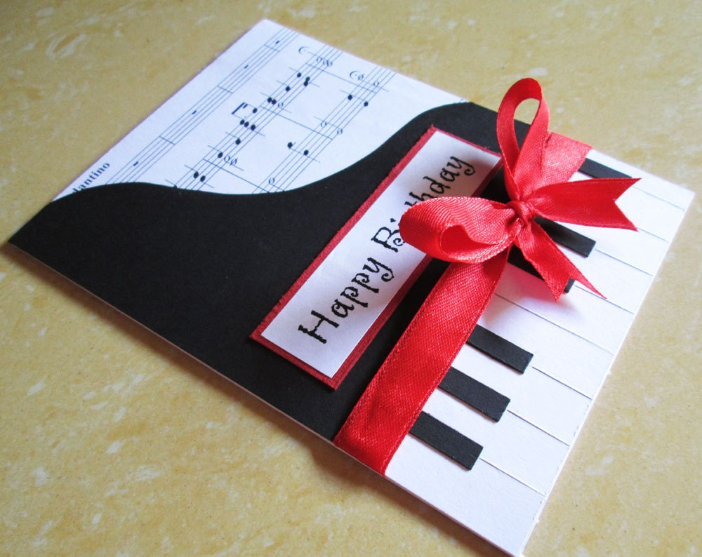Piano Happy Birthday Card Music Themed Birthday Greeting