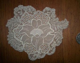 1 silk 1920s antique lace applique