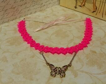 Neon pink tatted butterfly pendant choker