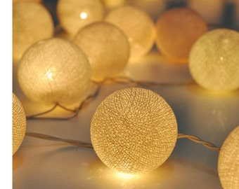 Ivory white cotton ball string lights for Patio,Wedding,Party and Decoration