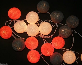 Orange, gray and white.20 Cotton ball string lights for Patio,Wedding,Party