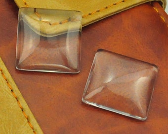 20PC Clear Square Glass Pendant Tiles 20x20mm Domed Perfectly Smooth Edges,clear beads,jewelry.