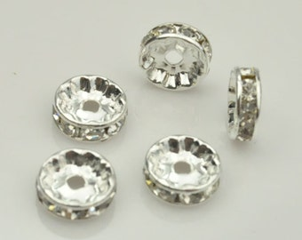 60pcs 10mm Silver Copper Rondelles Basketball Wives Earrings Findings Accessories.