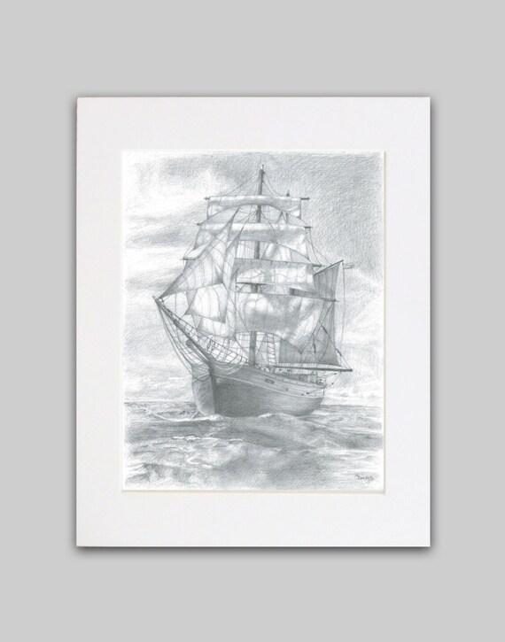 Segelschiff bleistiftzeichnung  Ähnliche Artikel wie Segelschiff Bleistiftzeichnung - Fine Art ...