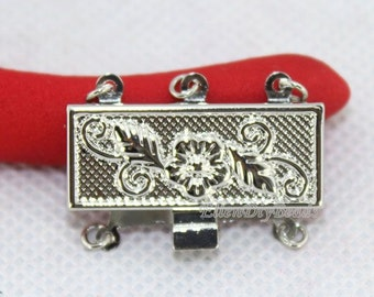 High Quanlity 4 Sets Jewelry Clasps,3 Rows Rectangle Clasp,Insert Clasp,Necklace Clasp,Bracelet Clasp,Clasp Charms,Clasp Findings--BN008