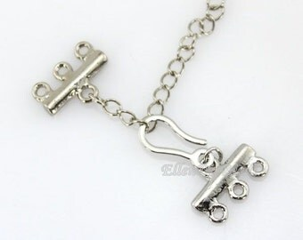 Fashion Style Jewelry Clasp,6 Sets Clasps Connector,3 Rows Clasp,Necklace Clasp,Bracelet Clasp,Clasp Charms,Clasp Findings--BN012