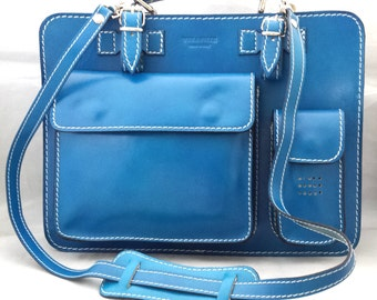Handmade Lady's Italian Leather Briefcase in Blue with Detachable Shoulder Strap and Umbrella Holder Ideal for Kindles/iPads Small Laptops
