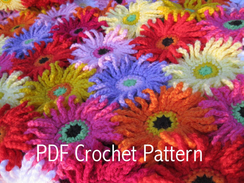 Crochet Daisy Flower Blanket Pattern : Crochet Pattern GERBERA GARDEN Blanket/Afghan/Throw PDF by ...