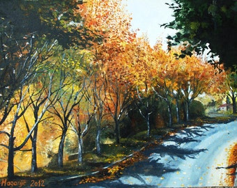 Authentic -Autumn- Oil on Canvas nature autumn trees road sun Croatia 70x49cm