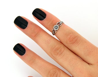 sterling silver knuckle ring Flower design above knuckle ring adjustable midi ring also toe ring (T-15)