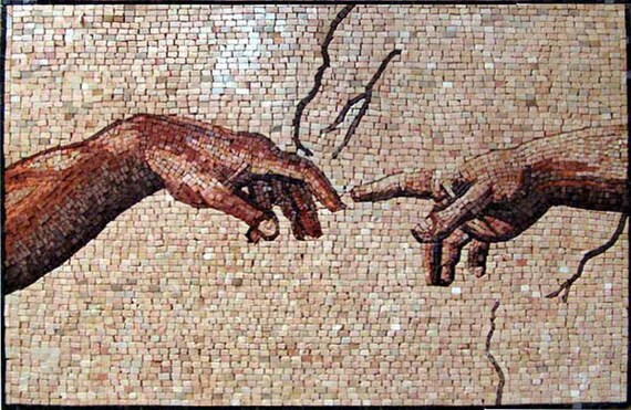 Michelangelo creation of adam mosaic for Creation of adam mural