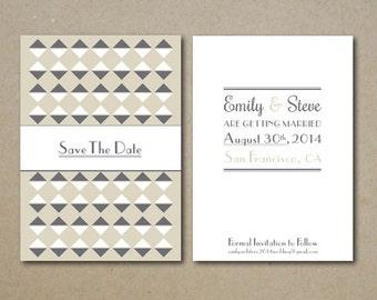 CUSTOM PRINTABLE Art Deco Save the Date Wedding Invitation