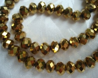 "144 Tiny Gold Faceted Rondelles. 3x4mm. Tiny Electroplated Antq Golden Glass Spacer. 18.5"" Faceted Metallic Gold Glass Beads USPS Ship Rates"