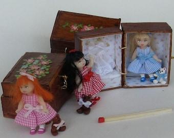 Tiny doll in a box - dollhouse miniature