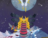 Original Pokemon Charley Harper-Inspired Artwork Print: Creation Beasts