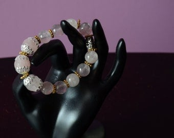 Heart Chackra Pink Quartz Bracelet - Reiki Charged  Gemstone Jewelry  for universal love, fertility and pregnancy