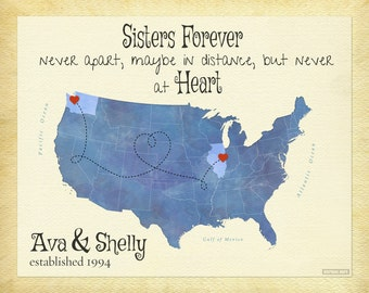 Personalized Sister Gift, Long Distance Gift for Sister, Going Away Gift, Sister Quote Print, Birthday Gift for Sister, Gift for Daughters