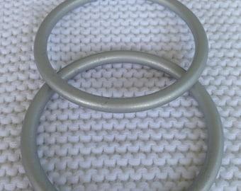 Medium Pair of Silver aluminum Sling Rings