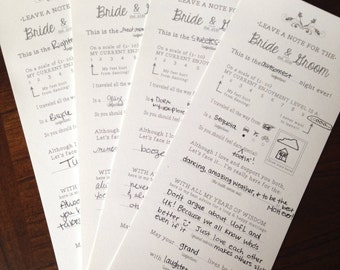 Wedding Guest Advice Cards -- Digital File