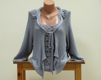 Dressy womens hand knit cardigan, Fancy grey cardigan sweater with crochet floral decorations and sequins