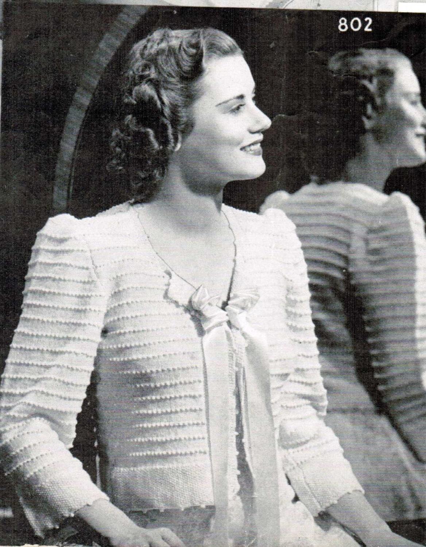 Womens Bed Jacket Knitting pattern PDF / Mad men vintage