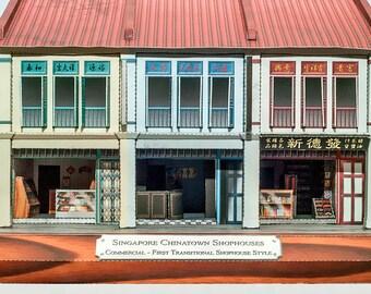DIY 3D Paper Model - Singapore Chinatown Shophouse Kit 2