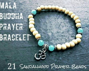 Mala bracelet,  Buddha prayer 21 sandalwood beads