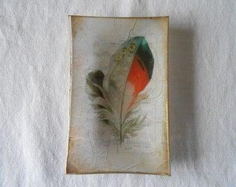 Decorative Plate. Feathers Decoupage glass dish.