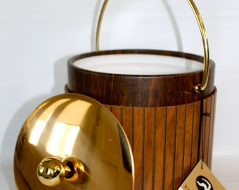 Vintage Wood and Laminate Kraftware Ice Bucket with Tags