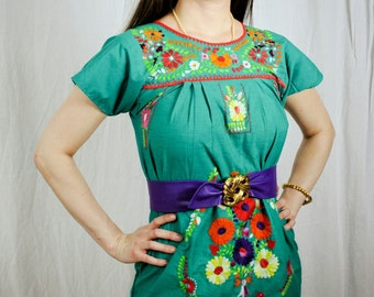 60s 70s Boho Embroidered Mini Dress Small