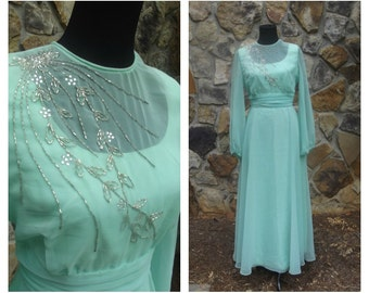 CLEARANCE 70s Mint Gown Long Sheer Flowy Beaded Dramatic Evening Dress Sz. S-M