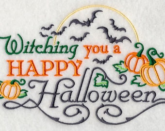 Embroidered  Halloween Kitchen Towel-  Witching You a Happy Halloween  waffle weave kitchen decor