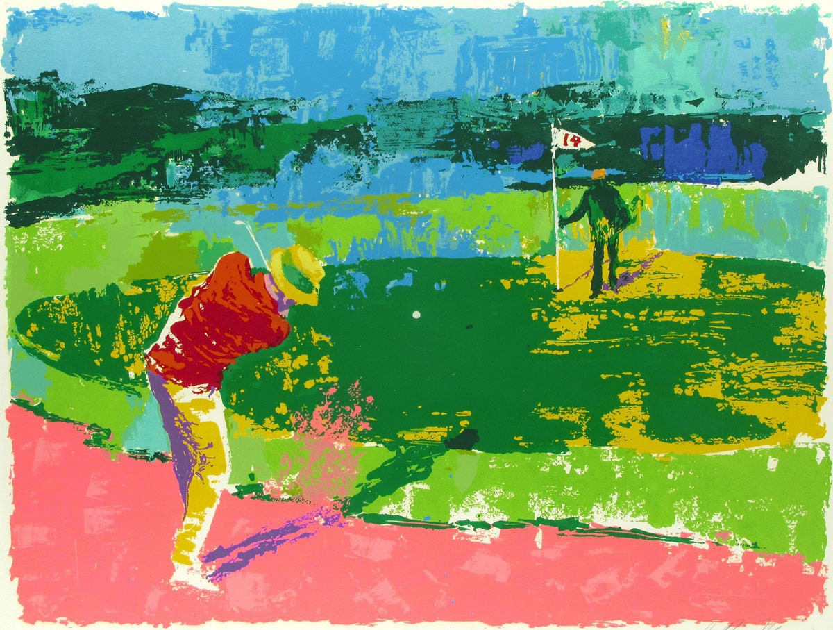 leroy neiman a round of golf oil painting by antsartworkoffice. Black Bedroom Furniture Sets. Home Design Ideas