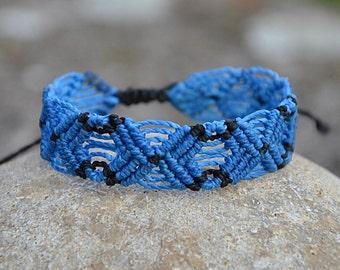 Blue Macrame Bracelet Handmade