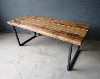 Reclaimed dining table etsy - Table industrielle bois metal ...