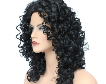 Classic Cap women Synthetic curly wavy Long jet Black wig HengFeng MLW42  SKU: 10C13