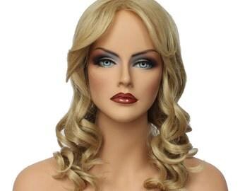 Classic Cap women Synthetic curly wavy Long Blonde full wig HengFeng MLW27  SKU: 10K51