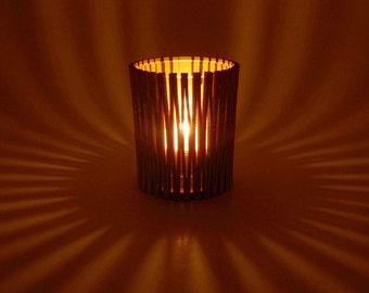Wood Tea Light Candle Holder with Living Hinge Design