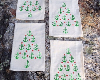 Nautical Christmas Tree Dish Towel