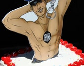 Police cop bachelorette party wedding bridal shower cake topper Sexy Stripper handcuffs