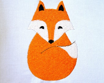 Filled Fox Machine Embroidery Design Pattern Download 3 Sizes Woodland Animal Embroidery Pattern