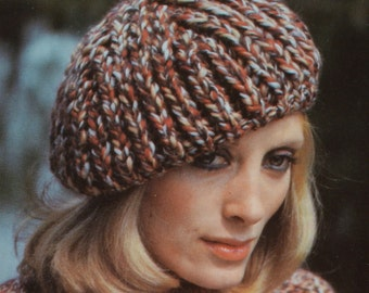 PDF women's hats vintage knitting pattern beret peaked hat pdf INSTANT download pattern only pdf 1980s