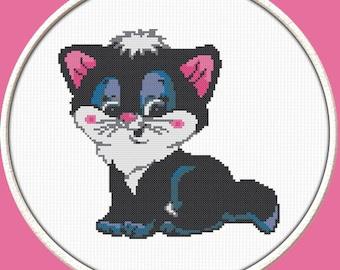 Black Kitten - PDF Downloadable Printable Cross Stitch Pattern