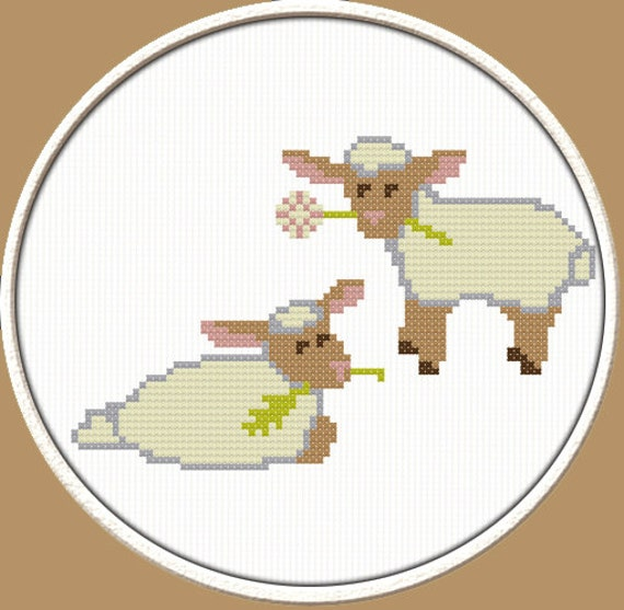 Lamb - PDF Downloadable Printable Cross Stitch Pattern