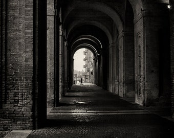 Travel Photography, Urban, Italy, Parma, Arches, Street Photography, Fine Art Black and White Photography, Wall Art, Home Decor