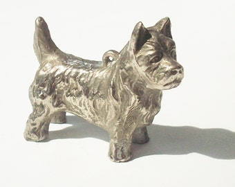Antique Silver Dog / No Marks / Hollow cast, Lightweight  /  3 inches / Retro bling!