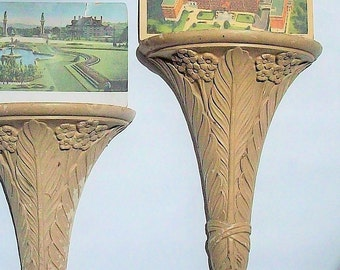 Plaster Shelves / Art nouveau / Vintage Matching Pair / Make small objects special!