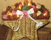 Lighted Pine Cone Star Wicker Basket