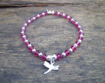 Fusia Swarovski Crystal and 925 Sterling Silver Bracelet with Your Choice of Charm